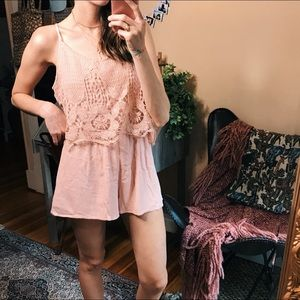 Pants - Pale blush pink lightweight linen & lace romper